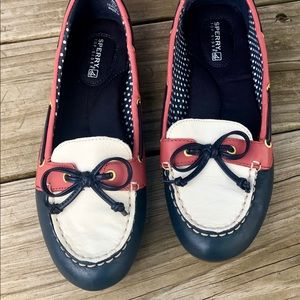 Sperry Shoes - Sperry loafers Leather Blue, Red And White slip-on